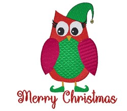 Merry Christmas Owl embroidery design