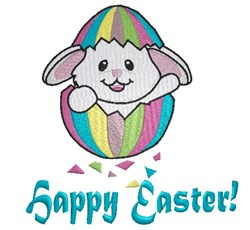 Easter bunny in egg shell Happy Easter embroidery design