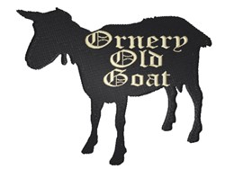 Goat silhouette Ornery Old Goat embroidery design