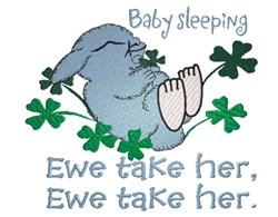 Lamb sleeping in clovers Ewe take her embroidery design