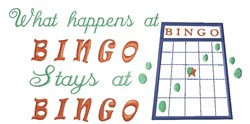 What happens at Bingo embroidery design