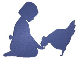 Girl & Chicken Silhouette embroidery design