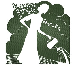 Garden Lady Silhouette embroidery design