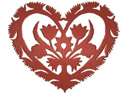 Flower Heart Silhouette embroidery design