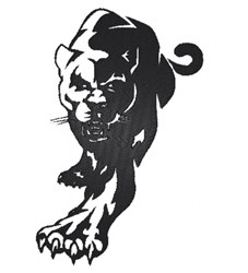Panther silhouette embroidery design