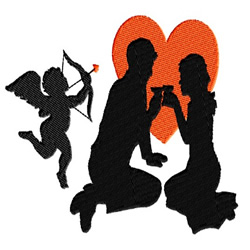 Cupid and Lovers embroidery design