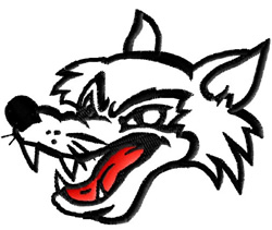 Wolf Face Outline embroidery design