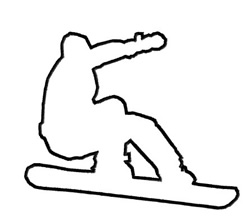 Snowboard Outline embroidery design