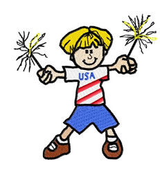 American Child Celebrating 4th of July embroidery design