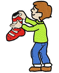 Boy Holding Christmas Stocking embroidery design