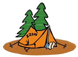 Camper Sleeping in Tent embroidery design
