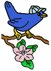 Bird with Baseball cap sitting on a Branch embroidery design