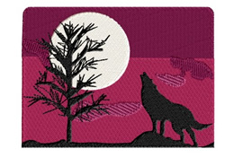 Wolf Howling at the Moon embroidery design