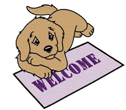 Puppy On Welcome Mat embroidery design