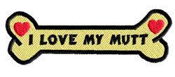 I Love My Mutt embroidery design