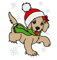 Puppy With Santa Hat embroidery design