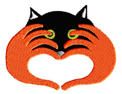 Heart With Cat Peeking embroidery design