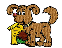Puppy With Doghouse embroidery design