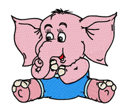 Pink Elephant embroidery design