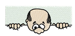 Bald Head Peeking embroidery design