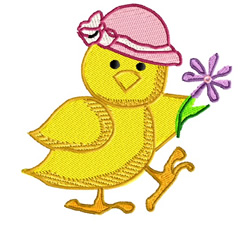 Chicken With Easter Hat embroidery design