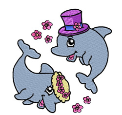 Dolphins Bride & Groom embroidery design