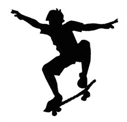 Skateboarder Silhouette embroidery design