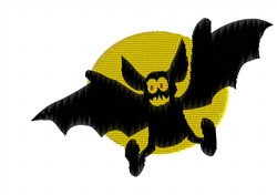 Bat And The Moon embroidery design