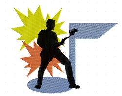 Guitarist On Stage embroidery design