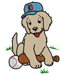 Puppy Plays Baseball embroidery design