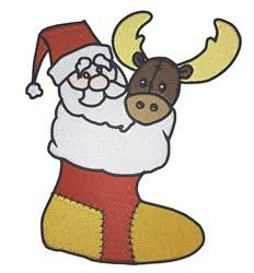 Santa And Reindeer embroidery design