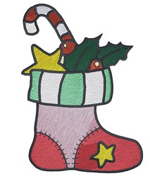 Stocking With Stars embroidery design