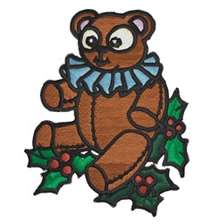 Teddy On Holly embroidery design
