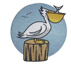 Pelican With Fish embroidery design