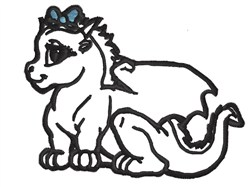 Baby Dragon Outline embroidery design