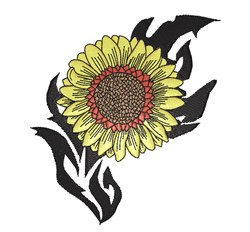 Tribal Sunflower embroidery design