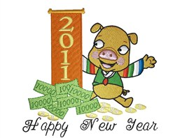 Happy New Year embroidery design