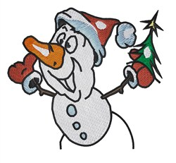 Snowman Holding Tree embroidery design