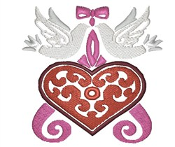 Heart With Doves embroidery design