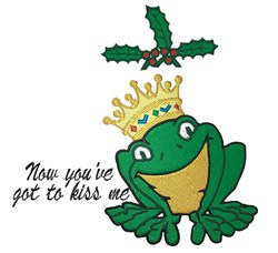 Frog Under Mistletoe embroidery design