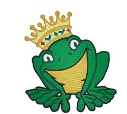 Frog With Crown embroidery design