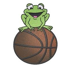 Frog On Basketball embroidery design