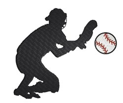 Baseball Catcher embroidery design