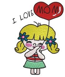 I Love Mom embroidery design