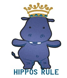 Hippos Rule embroidery design