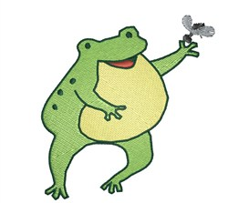Frog Holding Fly embroidery design
