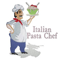 Italian Pasta Chef embroidery design