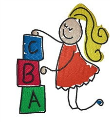 Girl With Blocks embroidery design