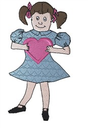 Girl Holding Heart embroidery design