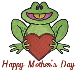 Mothers Day Frog embroidery design